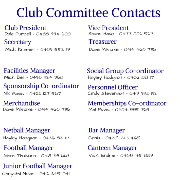 Netball Committee Contacts