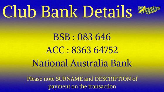 Club Bank Details